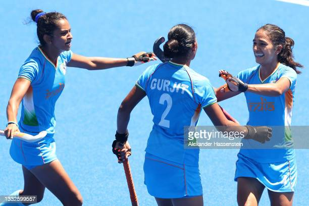 Gurjit Kaur of Team India celebrates scoring their second goal with teammates during the Women's Bronze medal match between Great Britain and India...