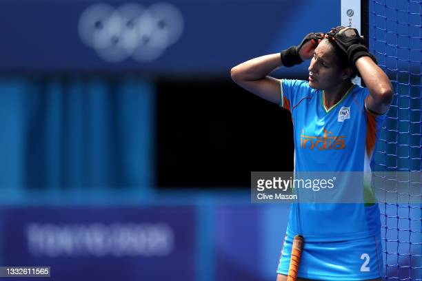 Gurjit Kaur of Team India reacts after losing the Women's Bronze medal match between Great Britain and India on day fourteen of the Tokyo 2020...