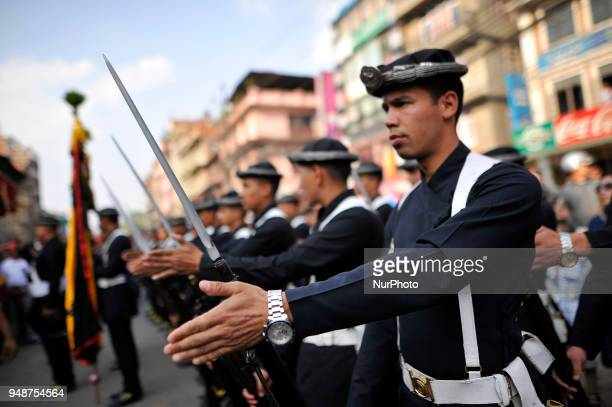 Gurju Paltan Army personnel attending during Chariot pulling festival of Rato Machindranath 'God of Rain' on first day at Pulchowk Lalitpur Nepal on...