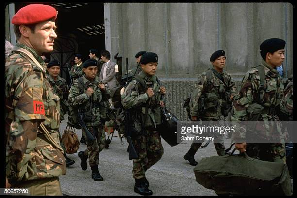 Gurkha Rifles troops boarding QE2 to sail to Falklands