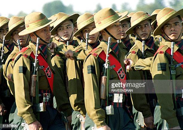 Gurkha soldiers wellrenown for toughness and courage march at an Indian army day function in New Delhi 15 January 2000 The Gurkhas who live close to...