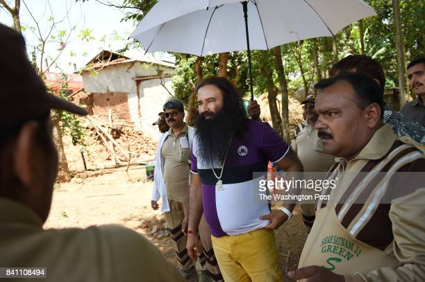 Gurmeet Ram Rahim Singh leader of Dera Sacha Sauda is seen in a small village following a deadly earthquake on Sunday May 03 2015 in the Nuwakot...