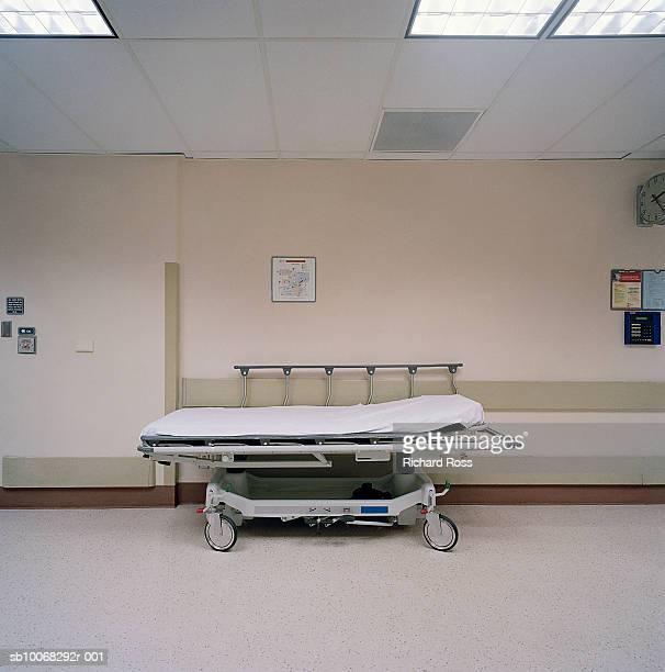 Gurney in hospital corridor
