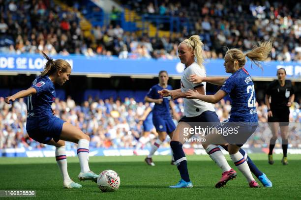 Guro Reiten and Erin Cuthbert of Chelsea Women and Sophie McLean of Tottenham Hotspur Women in action during the Barclays Womens Super League match...