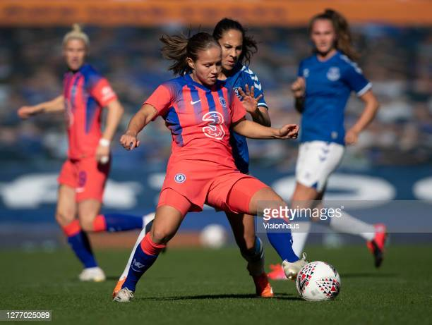 Guro Reiten of Chelsea and Ingrid Moe Wold of Everton in action during the Womens FA Cup Quarter Final match between Everton FC and Chelsea FC at...