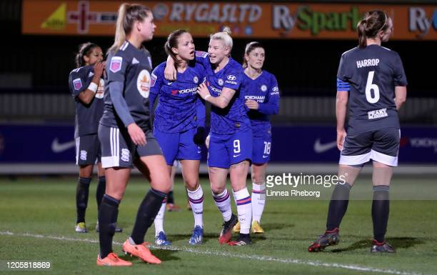 Guro Reiten of Chelsea celebrates with Beth England after scoring her team's first goal during the Barclays FA Women's Super League match between...