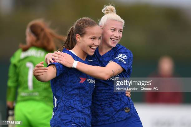 Guro Reiten of Chelsea celebrates with teammate Bethany England after scoring her team's second goal during the Barclays FA Women's Super League...