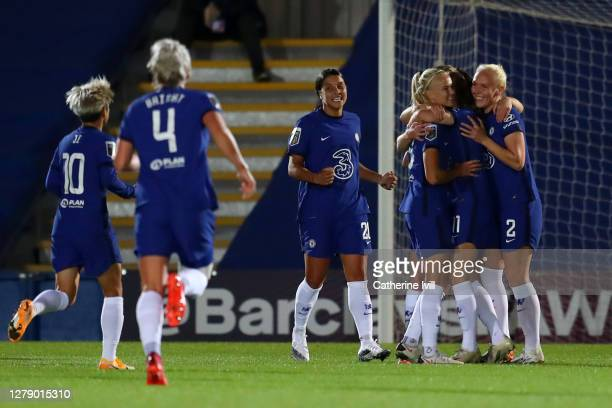 Guro Reiten of Chelsea celebrates with teammates after scoring her team's third goal during the FA Women's Continental League Cup match between...