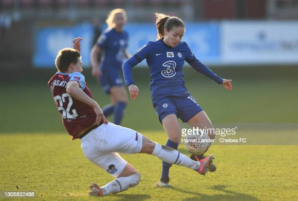 Guro Reiten of Chelsea is challenged by Dagny Brynjarsdottir of West Ham United during the Barclays FA Women's Super League match between West Ham...