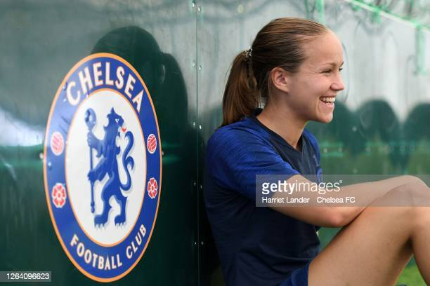 Guro Reiten of Chelsea poses for a photograph after signing a contract extension with Chelsea FC Women at Chelsea Training Ground on August 05 2020...