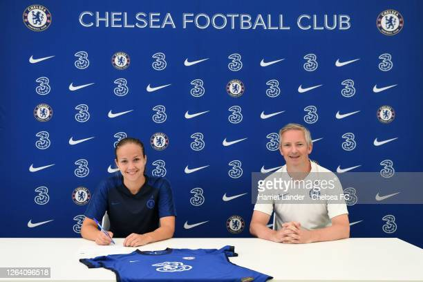 Guro Reiten of Chelsea poses for a photograph with Paul Green Assistant Manager of Chelsea after signing a contract extension with Chelsea FC Women...