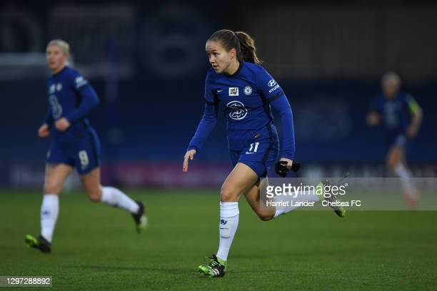 Guro Reiten of Chelsea runs on during the Barclays FA Women's Super League match between Chelsea Women and Manchester United Women at Kingsmeadow on...