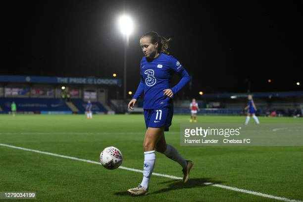 Guro Reiten of Chelsea runs on during the FA Women's Continental League Cup match between Chelsea and Arsenal at Kingsmeadow on October 07 2020 in...
