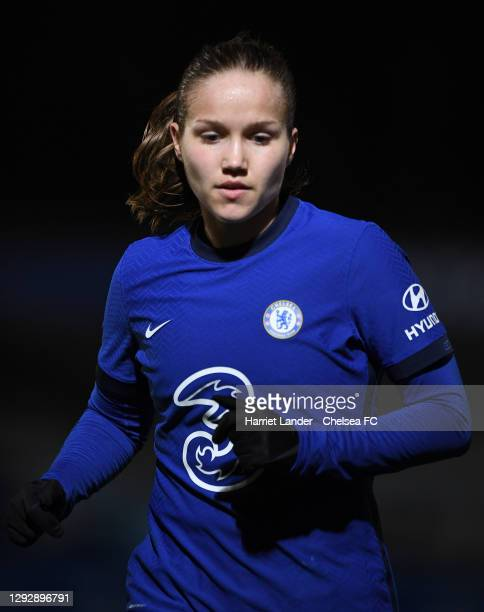 Guro Reiten of Chelsea runs on during the UEFA Women's Champions League round of 32 second leg match between FC Chelsea Women and SL Benfica Women at...