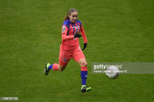 Guro Reiten of Chelsea runs with the ball during the Barclays FA Women's Super League match between Reading Women and Chelsea Women at Madejski...