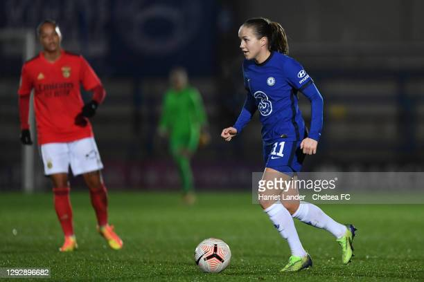 Guro Reiten of Chelsea runs with the ball during the UEFA Women's Champions League round of 32 second leg match between FC Chelsea Women and SL...