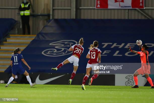 Guro Reiten of Chelsea scores her team's third goal during the FA Women's Continental League Cup match between Chelsea and Arsenal at Kingsmeadow on...