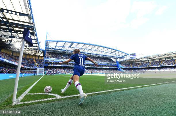 Guro Reiten of Chelsea takes a corner during the Barclays FA Women's Super League match between Chelsea and Tottenham Hotspur at Stamford Bridge on...