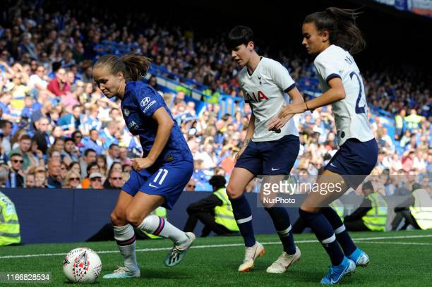Guro Reiten of Chelsea Women and Ashleigh Neville and Hannah Godfrey of Tottenham Hotspur Women in action during the Barclays Womens Super League...