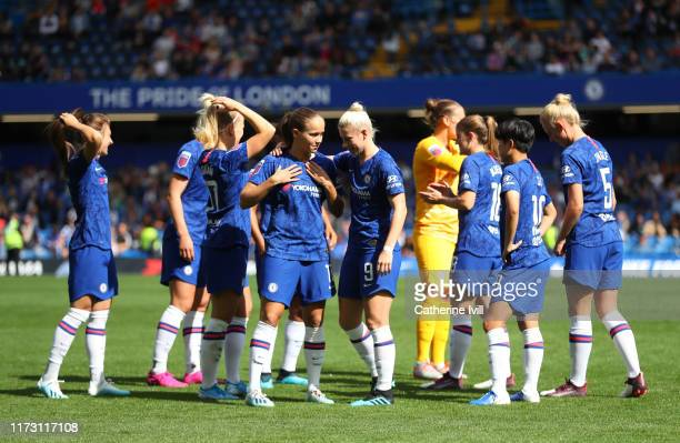 Guro Reiten of Chelsea Women and Bethany England of Chelsea Women speak prior to kick off during the Barclays FA Women's Super League match between...