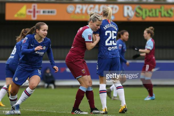 Guro Reiten of Chelsea Women Gilly Flaherty of West Ham United Women Jonna Andersson of Chelsea Women during the Barclays FA Women's Super League...