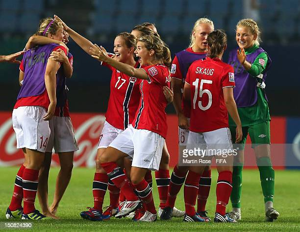 Guro Reiten of Norway celebrate with her team mates after the FIFA U20 Women's World Cup 2012 group C match between Norway and Argentina at Miyagi...