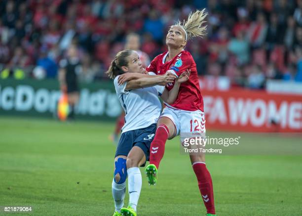 Guro Reiten of Norway Stine Larsen of Denmark during the UEFA Womens«s Euro between Norway v Denmark at Stadion De Adelaarshorst on July 24 2017 in...