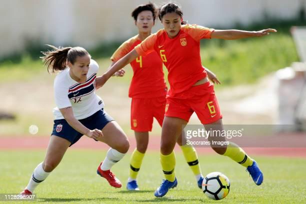 Guro Reiten of Norway Women, Liu Shanshan of China Women during the Algarve Cup Women match between China PR v Norway at the Estadio Municipal de...