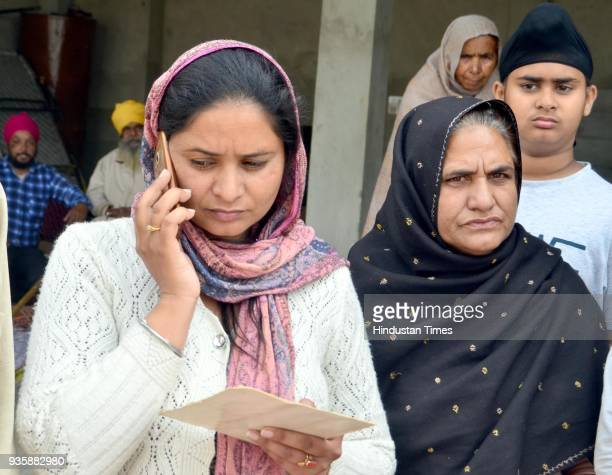 Gurpinder Kaur with their mother Sukhwinder Kaur after the confirmation of his death by external affairs minister Sushma Swaraj one of the workers...