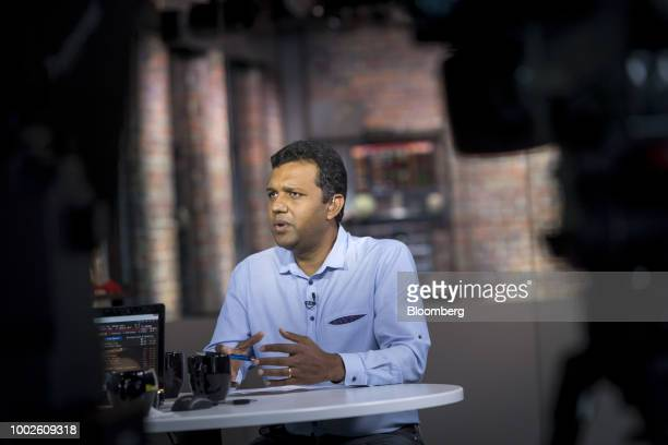 Guru Hariharan chief executive officer of Boomerang Commerce Inc speaks during a Bloomberg Technology Television interview in San Francisco...
