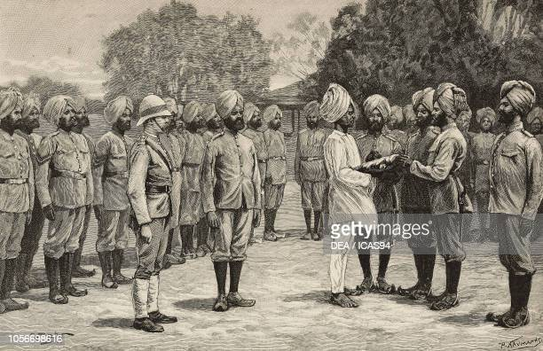 Guru swearing in a Sikh recruit the new Burma regiments engraving from The Illustrated London News No 2700 January 17 1891