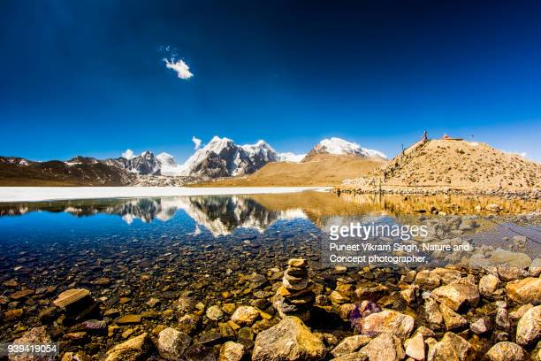 gurudongmar lake - northeast india stock photos and pictures