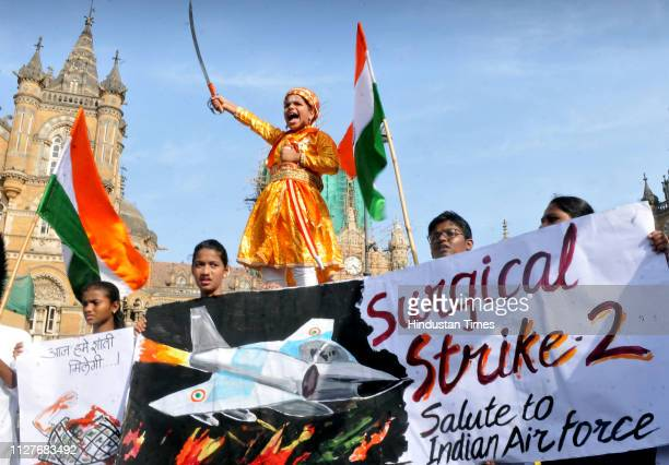 Gurukul Art School students Celebration at CST after Indian Air force attack on the POK Kashmir on February 26 2019 in Mumbai India Indian forces...