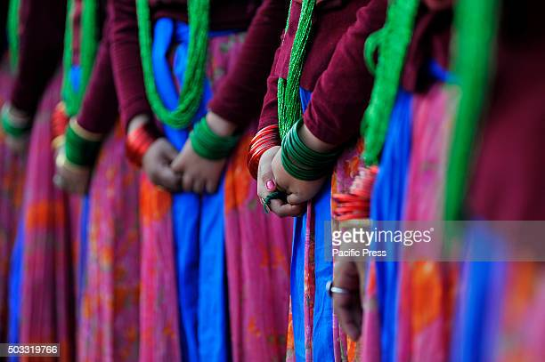 KATHMANDU NEPAL KATHMANDU NP NEPAL Gurung community girls in a traditional attire during the celebration of Tamu Loshar in Kathmandu Gurung community...