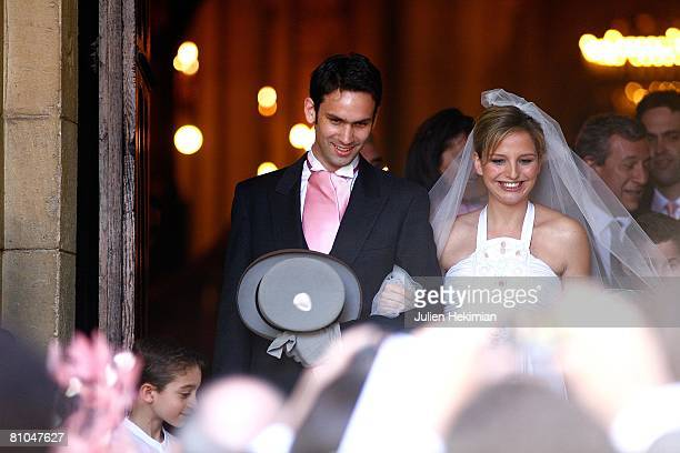 Gurvan Rallon and JeanneMarie Martin leave St Pierre de Neuilly church on May 10 2008 in Paris France