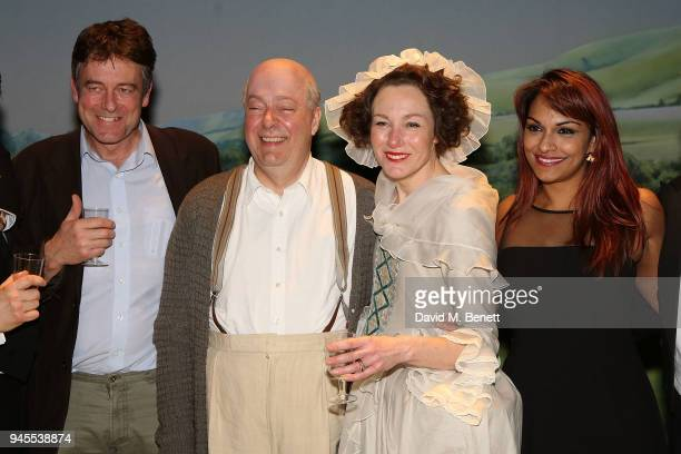 Gus Christie Roger Allam Nancy Carroll and Danielle de Niese pose backstage following the press night performance of The Moderate Soprano at the Duke...