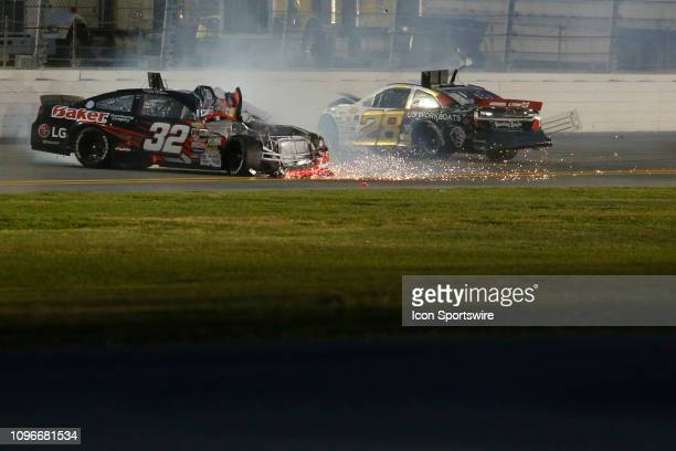 Gus Dean Driver of the WinTron Racing Chevy and Brandon McReynolds driver of the KBR Development Toyota wreck during the Lucas Oil 200 Driven by...