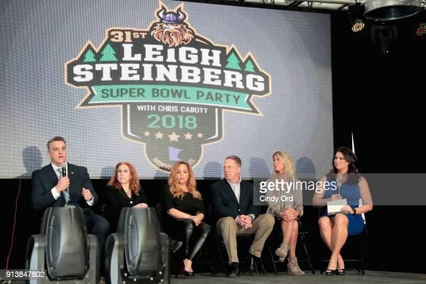 Gus Frerotte Jackie Garrick Alicia Duerson Gil Van Bokkelen Rianne Schorel and Jessica Schwartz speak onstage during Leigh Steinberg Super Bowl Party...