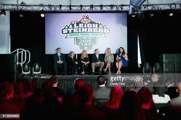 Gus Frerotte Jackie Garrick Alicia Duerson Gil Van Bokkelen Rianne Schorel and Jessica Schwartz attend speak onstage during Leigh Steinberg Super...