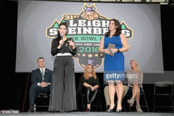 Gus Frerotte Nicole Fisher Alicia Duerson Jessica Schwartz and Rianne Schorelspeak onstage during Leigh Steinberg Super Bowl Party 2018 on February 3...
