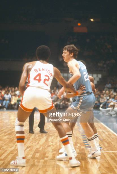 Gus Gerard of the Buffalo Braves in action against the New York Nets during an NBA basketball game circa 1977 at the Nassau Veterans Memorial...