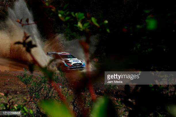 Gus Greensmith and Elliot Edmondson of England of MSport Ford World Rally Team compete during day one of the FIA World Rally Championship Guanajuato...