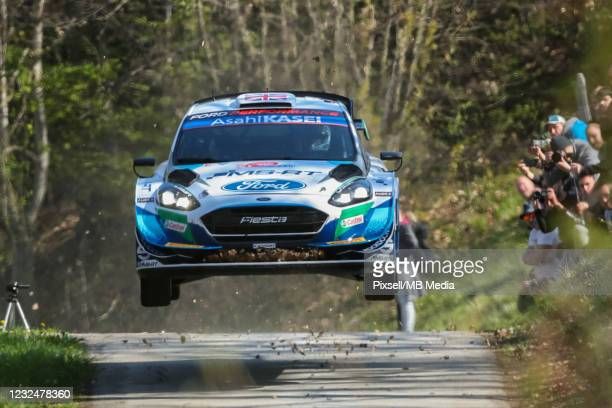 Gus Greensmith of Great Britain and Chris Patterson of Ireland compete with their M-Sport Ford World Rally Team Ford Fiesta WRC during Day One of the...