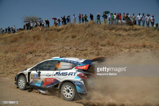 Gus Greensmith of Great Britain and Elliott Edmondson of Great Britain compete with their MSport FORD WRT Ford Fiesta WRC during FIA World Rally...