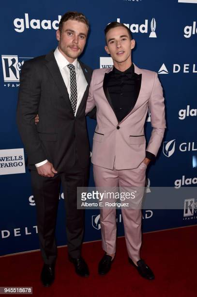 Gus Kenworthy and Adam Rippon attend the 29th Annual GLAAD Media Awards at The Beverly Hilton Hotel on April 12 2018 in Beverly Hills California
