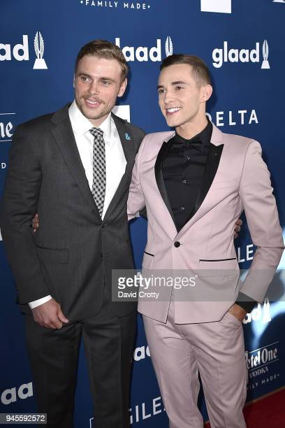 Gus Kenworthy and Adam Rippon attend the 29th Annual GLAAD Media Awards - Arrivals at The Beverly Hilton Hotel on April 12, 2018 in Beverly Hills,...