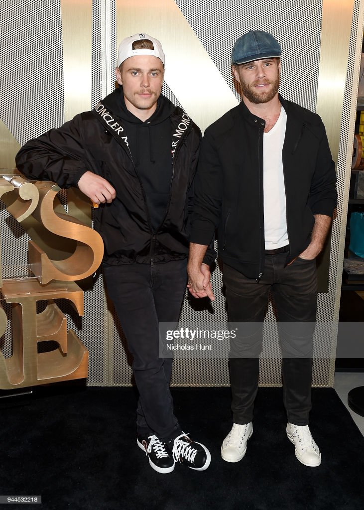 Gus Kenworthy and Matt Wilkas attends the Nordstrom Men's NYC Store Opening on April 10, 2018 in New York City.