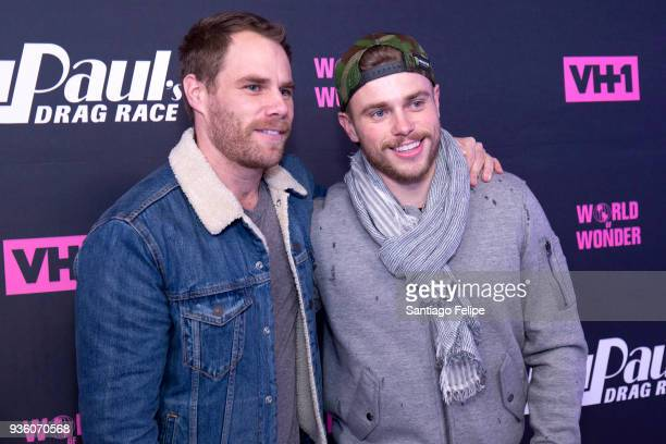 Gus Kenworthy and partner Matthew Wilkas attend 'RuPaul's Drag Race' Season 10 Meet The Queens at TRL Studios on March 21 2018 in New York City