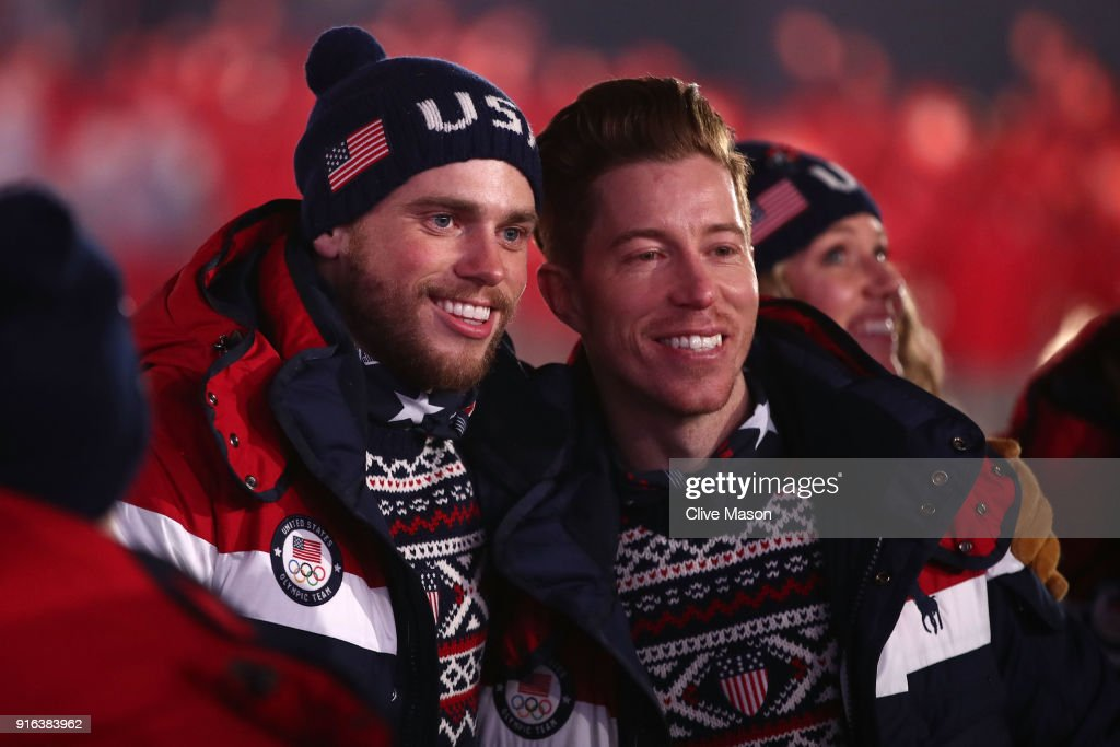 Gus Kenworthy and Shaun White of the United States enter the stadium during the Opening Ceremony of the PyeongChang 2018 Winter Olympic Games at PyeongChang Olympic Stadium on February 9, 2018 in Pyeongchang-gun, South Korea.