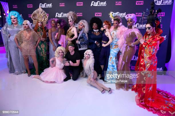 Gus Kenworthy joins the cast of 'RuPaul's Drag Race' Season 10 for a photo Season 10 cast are Eureka O' Hara Vanessa Vanjie Mateo Kameron Michaels...